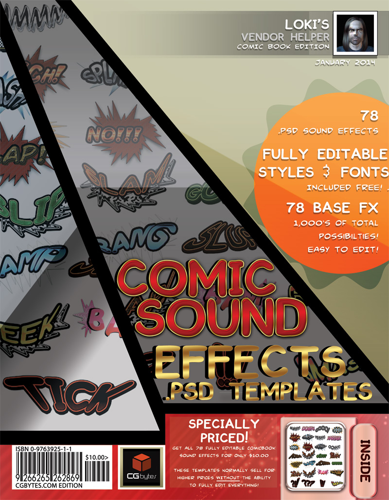 Loki's Comicbook PSD Sound Effect Templates #1