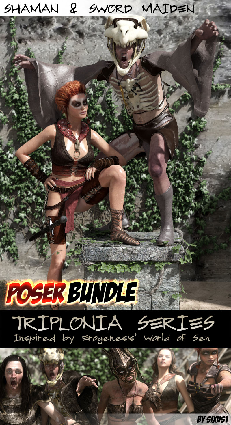Triplonia Shaman And Swordmaiden Bundle Poser