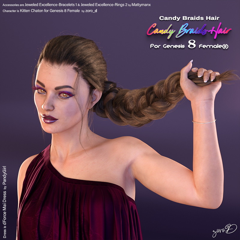 Candy Braids Hair for Genesis 8 Females