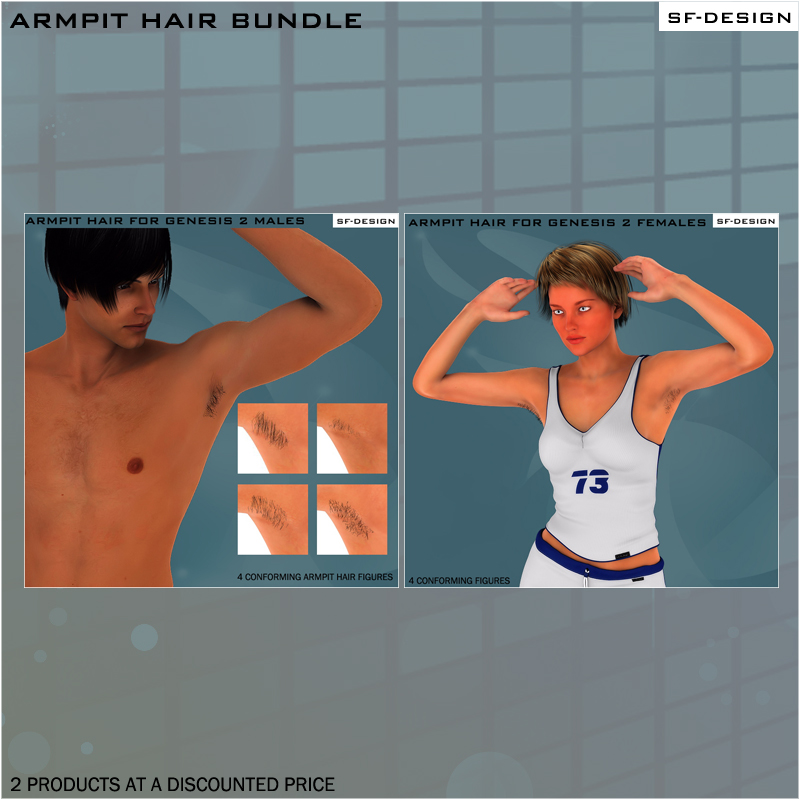 Armpit Hair Bundle for Genesis 2 Characters